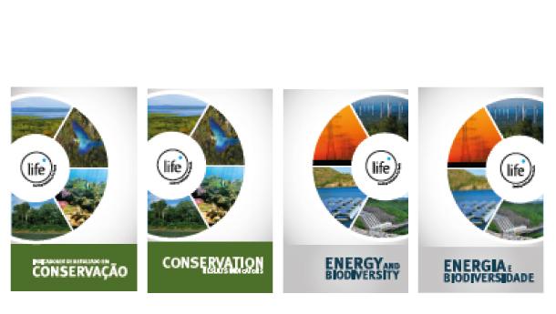 Folders sobre Energia e Biodiversidade e Indicadores de Resultado em Conservação